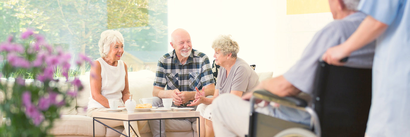 group of elderly talking